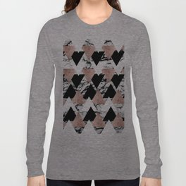 Modern Black White Rose Gold Triangles on Marble Long Sleeve T-shirt