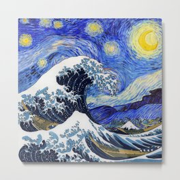 "Hokusai,""The Great Wave off Kanagawa"" + van Gogh,""Starry night"" Metal Print"