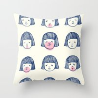 bubble Throw Pillows featuring Bubble bubble bubble gum by Young Ju