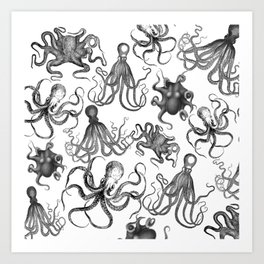 Octopus Kraken Everywhere Art Print