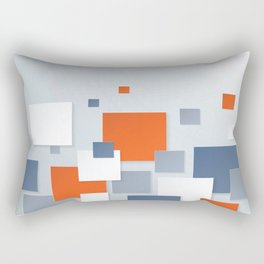 BLUE, WHITE AND ORANGE SQUARES ON A PALE BLUE BACKGROUND Abstract Art Rectangular Pillow