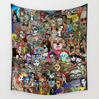 day of the dead Wall Tapestries featuring DAY OF THE DEAD by LIGGYZIGHAT