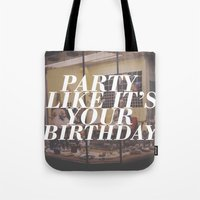 birthday Tote Bags featuring birthday by Sarah Brust