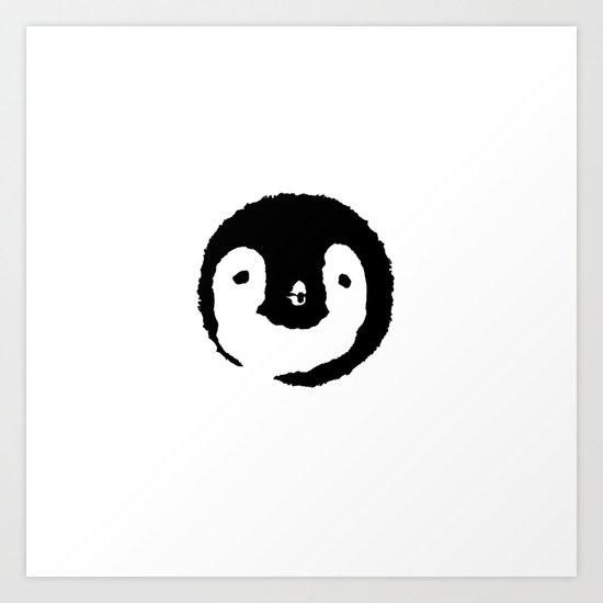 Baby Penguin Face Art Print