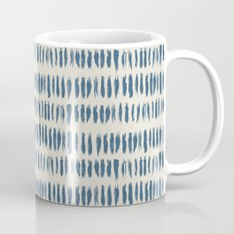 Blue & Linen White Bold Grunge Vertical Stripe Dash Line Pattern Pairs To 2020 Color of the Year Coffee Mug