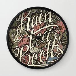 Rain, Tea & Books - Color version Wall Clock