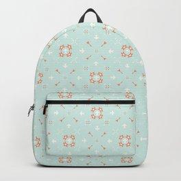 Blue and Orange Festive Winter Star Ornamental Backpack