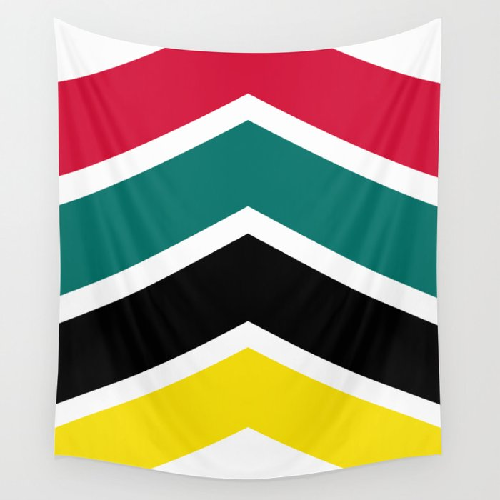 Chevron Mozambique Flag Colors Wall Tapestry by svenhorn