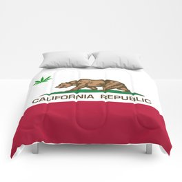California Republic state flag with green Cannabis leaf Comforters