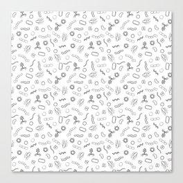 Microbiology - Black on White Canvas Print