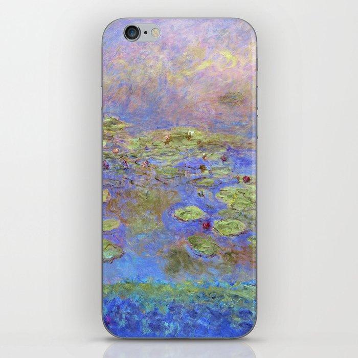Water Lillies - Claude Monet (indigo blue) iPhone Skin