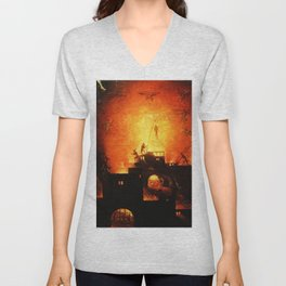 The flaming infurno Unisex V-Neck