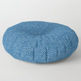 Ink dot scales - white on classic blue Floor Pillow