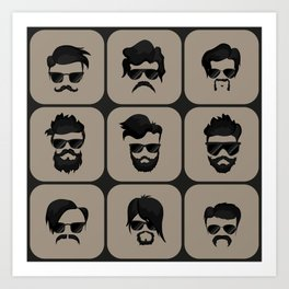 mustache, beard and hairstyle hipster Art Print