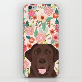 Chocolate Lab florals dog breed portrait pet art dog lover gifts labrador retriever iPhone Skin