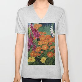 Floral Garden of Iris, Marigold, and Pansies still life floral portrait painting by Emil Nolde Unisex V-Neck