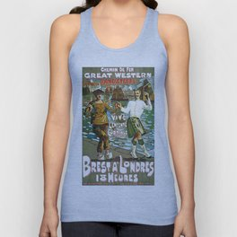 France to England, Brest to London vintage travel ad Unisex Tank Top