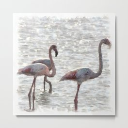 Three Flamingos Watercolor Metal Print