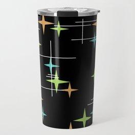 Mid Century Modern Stars Black Turquoise Chartreuse Orange Travel Mug