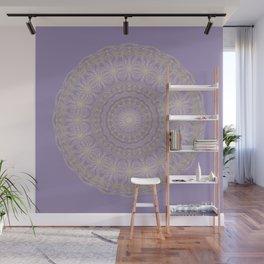 Lotus Mandala in Lavender and Gold Wall Mural