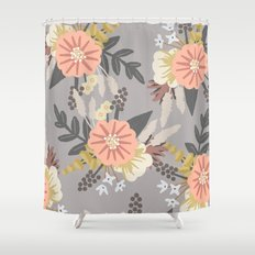 Pink and Gray Floral Pattern Shower Curtain