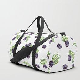Hand painted black green watercolor fruity blackberries Duffle Bag