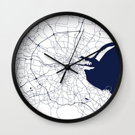 White on Navy Blue Dublin Street Map Wall Clock