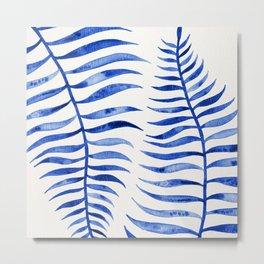 Navy Palm Leaf Metal Print