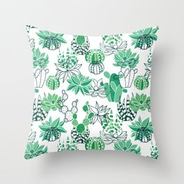 Succulent and cactus garden pattern Throw Pillow