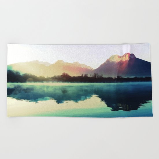 Mountains #watercolor Beach Towel