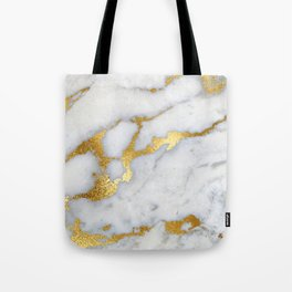 White and Gray Marble and Gold Metal foil Glitter Effect Tote Bag