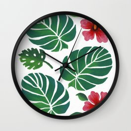 Hibiscuses and Palm Leaves Wall Clock