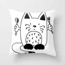 CAT EXPECTING TO EAT Throw Pillow