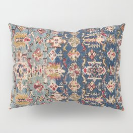 Dusty Blue Green Kuba 19th Century Authentic Colorful Yellow Bands Vintage Patterns Pillow Sham