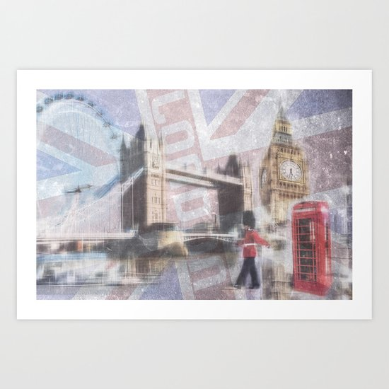 london collage - blue Art Print