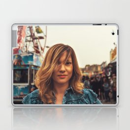 Lovely young woman in a Luna Park shortly before sunset in autumn Laptop & iPad Skin