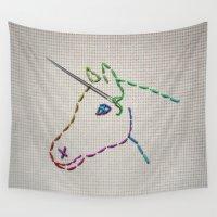 unicorn Wall Tapestries featuring unicorn by gazonula
