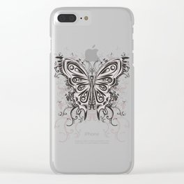 Beautiful filigree butterfly with flowers Clear iPhone Case