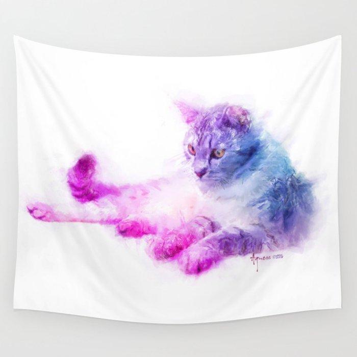 Feline Wonderment Wall Tapestry