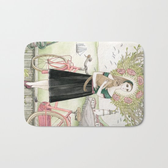Girl and cat with pink bicycle Bath Mat