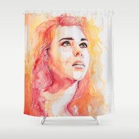 bad wolf Shower Curtains featuring Bad Wolf by Maria Bruggeman