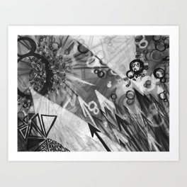 Abstract charcoal painting - Black and White Art Print