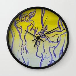 Purple and Yellow Elephants on Parade Wall Clock