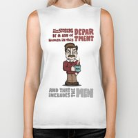 ron swanson Biker Tanks featuring Ron Swanson by maykel nunes