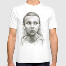 Stranger Things Eleven Portrait Upside Down MEDIUM Mens Fitted Tee White