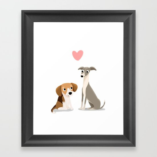 The Unlikely Pair - Cute Dog Series Framed Art Print