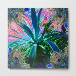 PEACOCK NATURE CORAL-BLUE GARDEN ART Metal Print