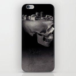 Urban Skull Horror Black and White City iPhone Skin