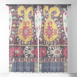 Lakai Tribal Nomad Antique Uzbekistan Horse Cover Print Sheer Curtain