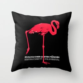 Vintage Pink flamingo Munich Zoo travel ad Throw Pillow